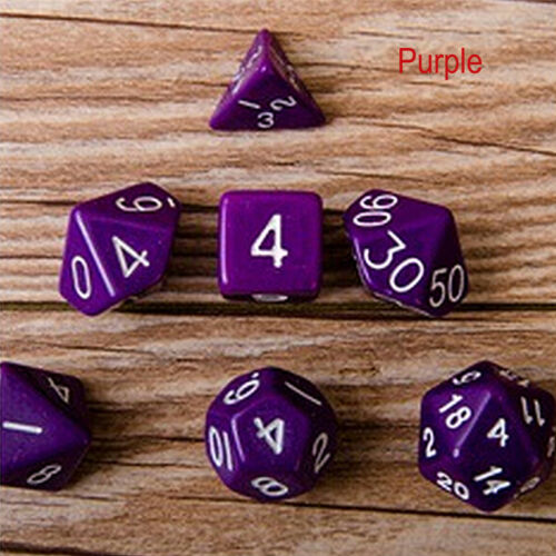 7 Dice Set TRPG For DND Multi Sided D4-D20 Acrylic Transparent 6 Colors RandY*ss