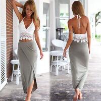 Women 2 Piece Set Dress Off shoulder Skirt Short Sleeve Summer Beach Dress 6229U