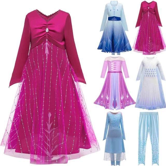 Elsa Princess Snow Queen Fancy Dress Girls Kids Swing Cosplay Costume Outfit