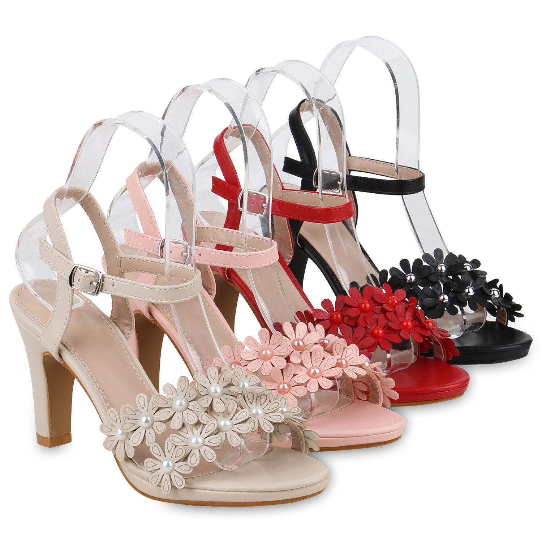 Damen Sandaletten Riemchensandal<wbr/>etten Blumen High Heels 820443 Schuhe