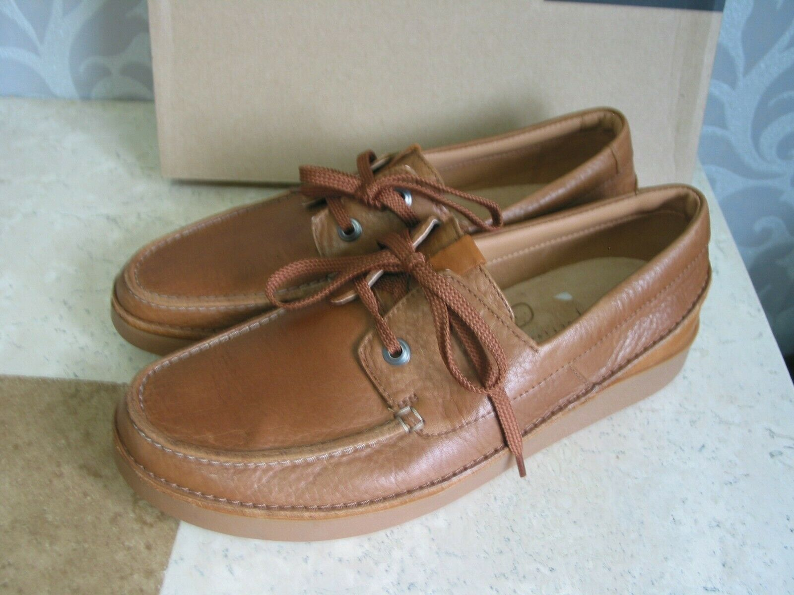 NEW CLARKS ACTIVE AIR OAKLAND SUN TAN LEATHER WALKING SHOES UK SIZE 8.5 & 7