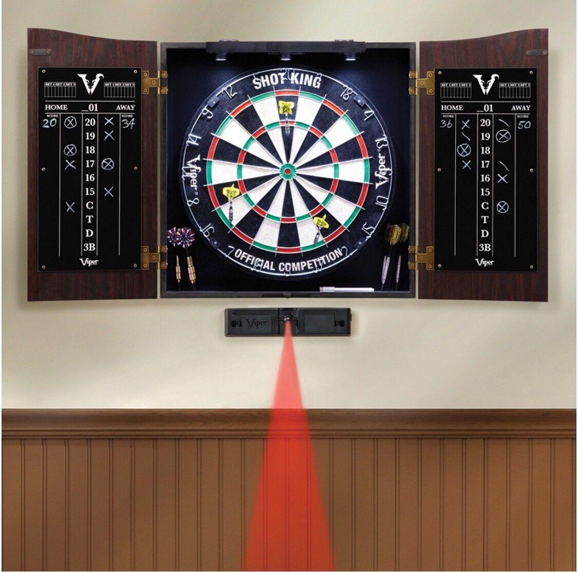 VAULT Dartboard Cabinet Set SHOT KING Steel Tip Dart Board DARTS 40-0377