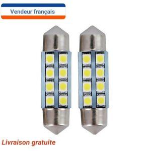 2 AMPOULES NAVETTE LED  Veilleuse  8 LED C5W 42 mm BLANC XENON  6000k Auto/moto