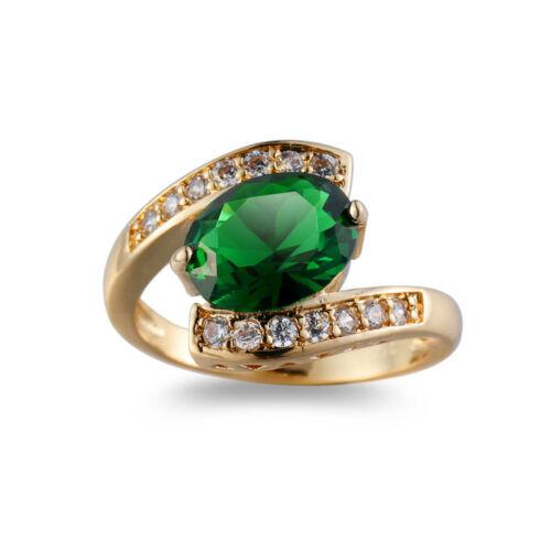 Énorme Horse Eye Emerald Topaz Gemstone Jaune Plaqué Or Femme Ring SZ 6-10