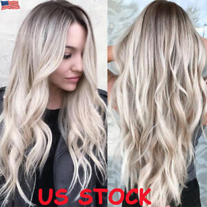 Details about US Balayage Women Curly Hair Full Wig Natural Long Wavy Ombre  Black Blonde Wigs