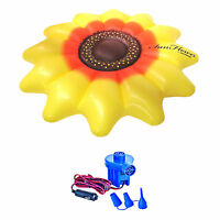 Swimline Giant Inflatable 72 Sunflower Island Swimming Pool Float + 12v Pump on sale
