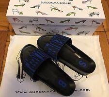 New SUECOMMA BONNIE BLACK & Blue Slippers Size 36.5