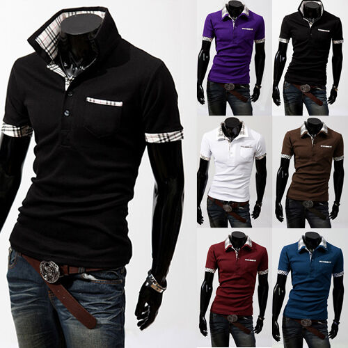 Men's Fashion Casual Slim Fit T shirt Polo shirt with small sizes(XS S M L) 0201