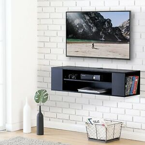 Image Is Loading Floating Wall Mounted Tv Console Media Center Shelf