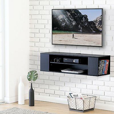 Wall Mounted Tv Stand Media Console Storage 2 Shelves Floating Unit 40 L Black 785421008902 Ebay