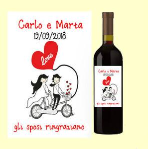 Segnaposto Matrimonio Vino.100 Etichette Vino Matrimonio Personalizzate Evlc1 Segnaposto