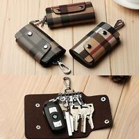 Genuine Leather Car Key Chain Card Holder Pouch Case keys Organizer Bags Wallet
