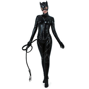 Image is loading Catwoman-Costume-Adult-Sexy-Suit-Cosplay-Black-Catsuit 63609fcd7795