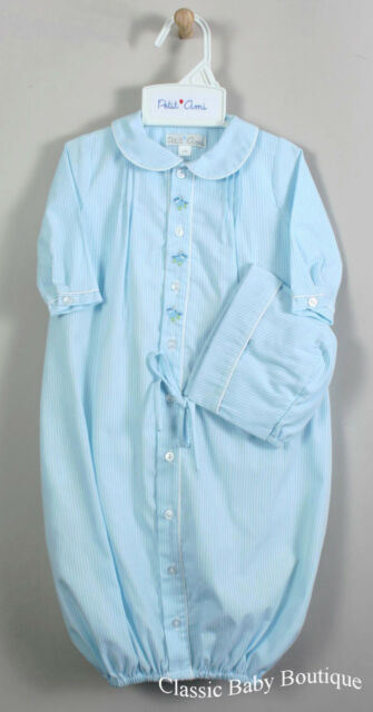 NWT Petit Ami Boys Blue Pinstripe Train Bag Gown 2pc Hat Preemie Daygown Baby