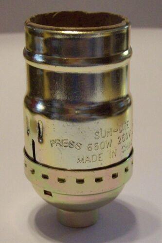 BRASS PLATED FULL KEYLESS LAMP SOCKET LAMP PART NEW 30778J
