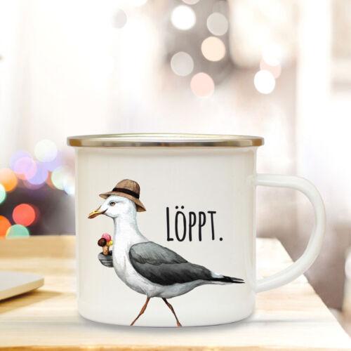 Emaille Becher Camping Tasse Möwe Spruch löppt Kaffeetasse Zitat Geschenk eb148