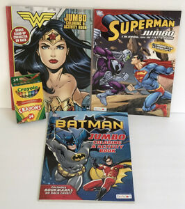 3-DC-Batman-Wonder-Woman-Superman-Jumbo-Coloring-amp-Activity-Books-24-Crayons