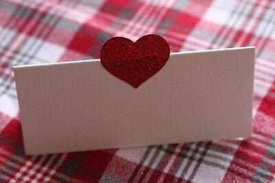10 Bianco Nome Segnaposto Con Cuore Rosso Glitter-