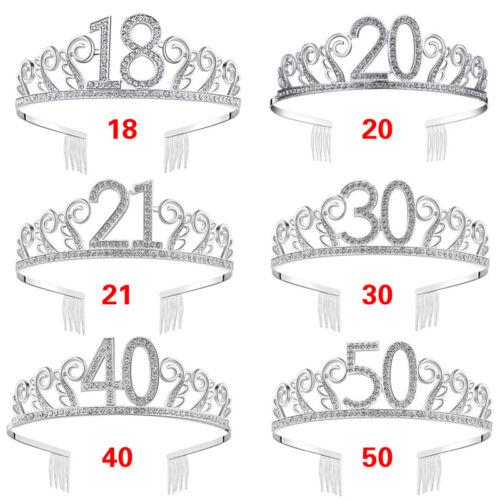 18//20//21st//30//40//50th Women Birthday Silver Rhinestone Tiara Crown Headband