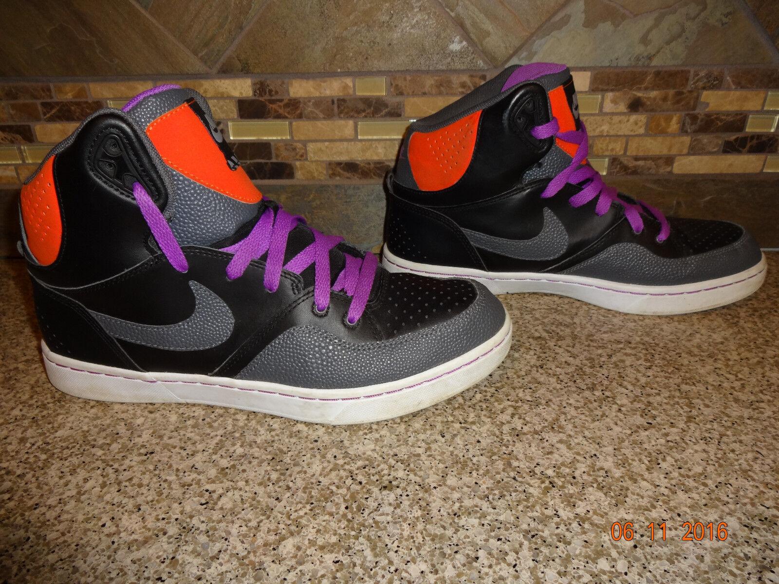 Mens Sz 9 42.5 Nike COURT TRANXITION Basketbal Black/Purple Hi-top Shoes
