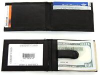 Leather Money Clip Slim Design Credit Card Id Holder Black Men's Wallet