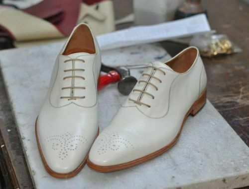 Mens Handmade shoes Wingtip Brogue Formal Party Dress White Boot Casual Wear Ne
