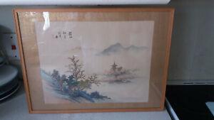 VINTAGE-JAPANESE-CHINESE-FRAMED-GLAZED-SILK-PICTURE-PRINT-MOUNTAIN-SCENE