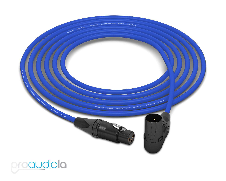 Mogami 2534 Quad Cable   Neutrik Gold XLR-F to 90º XLR-M   Blau 20 Feet 20'