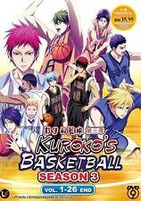 Kuroko's Basketball Season 3 (TV 1 - 26 End) DVD + EXTRA DVD