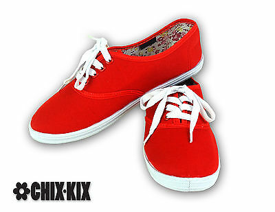 Womens Red Canvas Shoes Lace Up Casual Sneakers Kicks Footwear Tennis Flats New