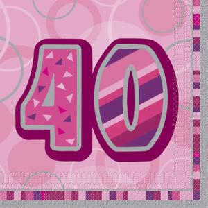 pink glitzer servietten 40 geburtstag deko partydeko tischdeko 16 stck 33x33cm ebay. Black Bedroom Furniture Sets. Home Design Ideas