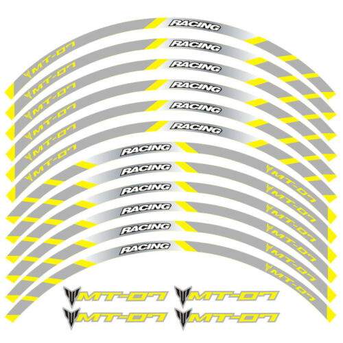 """MOTORCYCLE RIM /""""17 STRIPES WHEEL DECALS TAPE STICKERS FOR YAMAHA MT-07 MT07"""