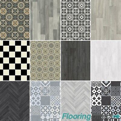 Non Slip Vinyl Flooring Grey Wood & Moroccan Tile Effect ...