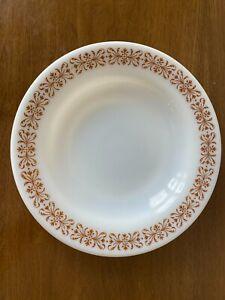 "Vtg Pyrex Copper Filigree Flat Rim Soup Bowl Dinnerware - 14 oz - 9"" Diameter"