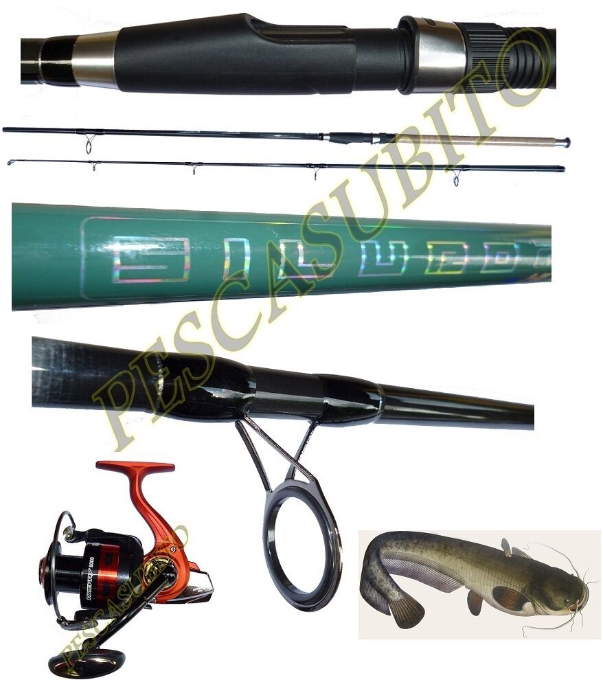 Kit canna siluro 2.70m 300g  mulinello enevay pesca break catfishing tp