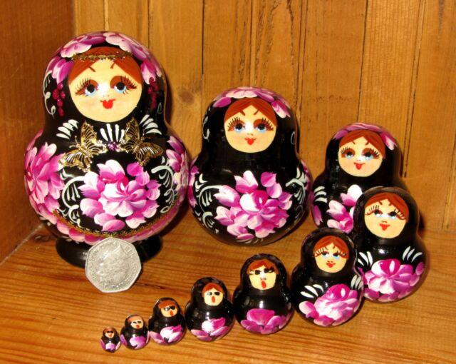 Russian hand painted nesting doll 10 BLACK MATRYOSHKA Pink Flowers NIKITINA GIFT