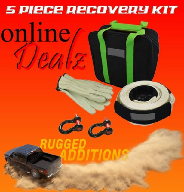 DELUXE 4WD RECOVERY KIT 4X4 OFF ROAD SNATCH STRAP BOW SHACKLES GLOVES BAG 5 PCE