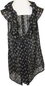 Banana Republic Womens Ladies Black Polka Dot Ruffle Tie Sheer Blouse Top Sz Xs