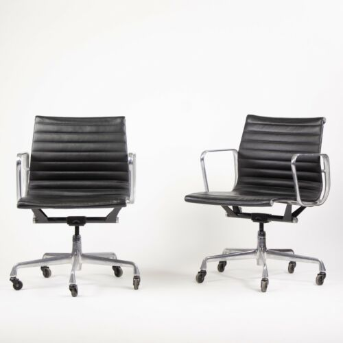 Eames Herman Miller Low Aluminum Group Executive Desk Chairs Black Leather 2006