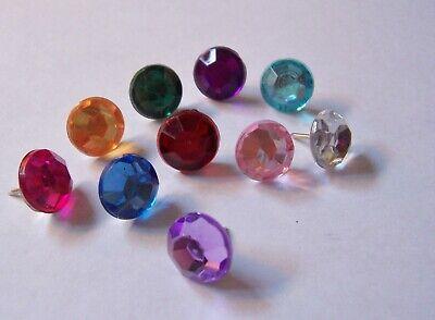 Set of 4 Rhinestone Faceted Gem//Jewel Decorative Push Pins//Thumb Tacks 7 Colors
