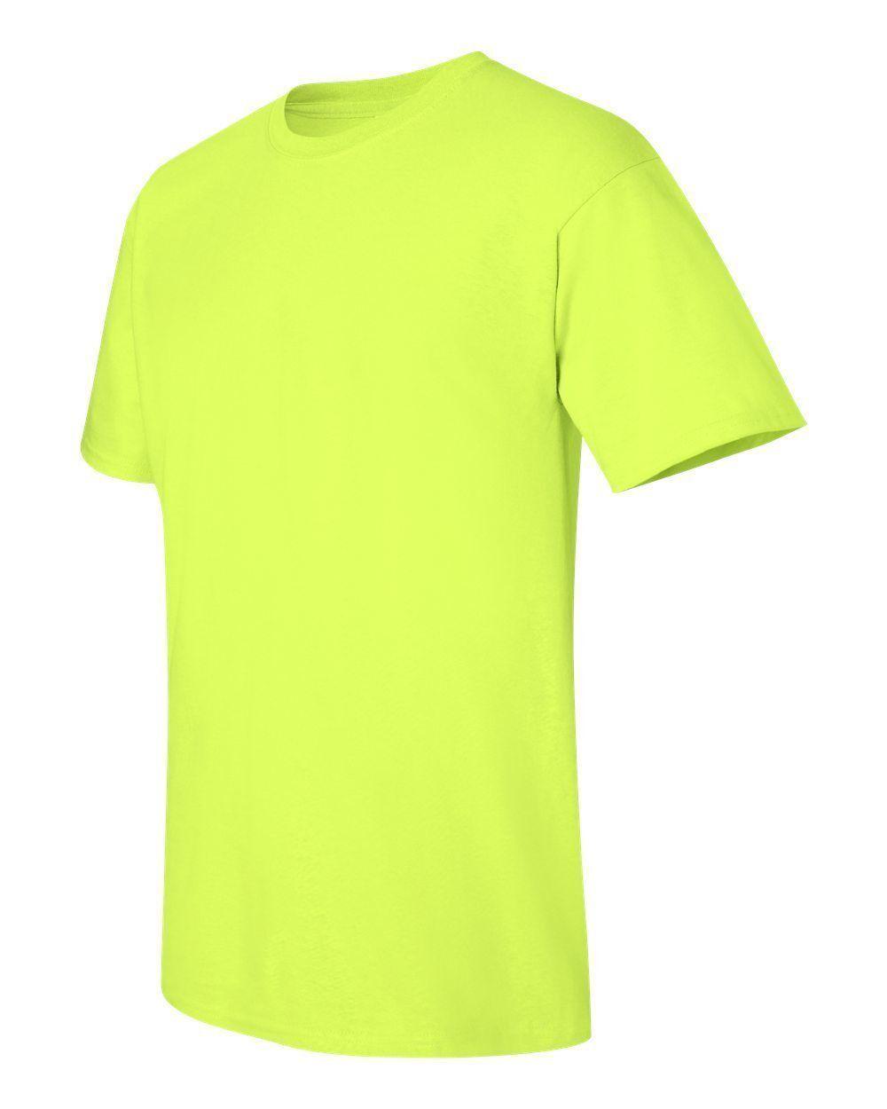 12 Gildan 5000 Heavy Cotton 50 50 SAFETY GREEN Adult T-Shirts Bulk Lot S M L XL