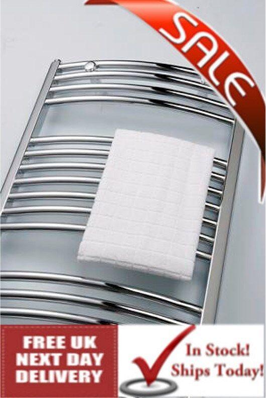 600X1000 incurvé chrome porte-serviettes chauffée-radiateurs, 2365 BTU
