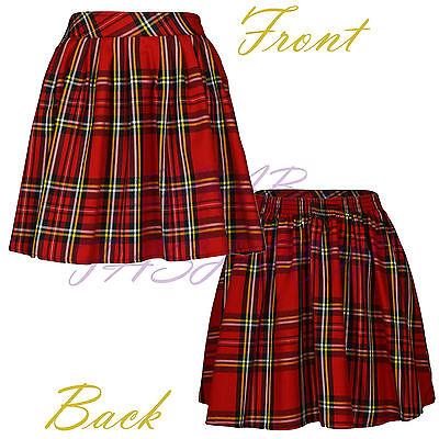 Ladies Womens Elasticated Waist Tartan Skater Skirt UK Size 8-14