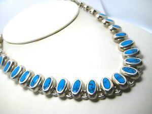 Vintage Sterling Turquoise and Coral Southwest Necklace 16 Inch