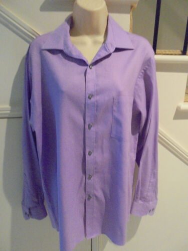 VAN HUESEN SIZE 16 12 3435 PURPLE PIN CORD REGULAR FIT BUSINESS FORMAL SHIRT