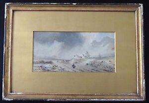 Ancienne-peinture-montagne-paysage-orageux-XIX-old-painting-landscape-mountain
