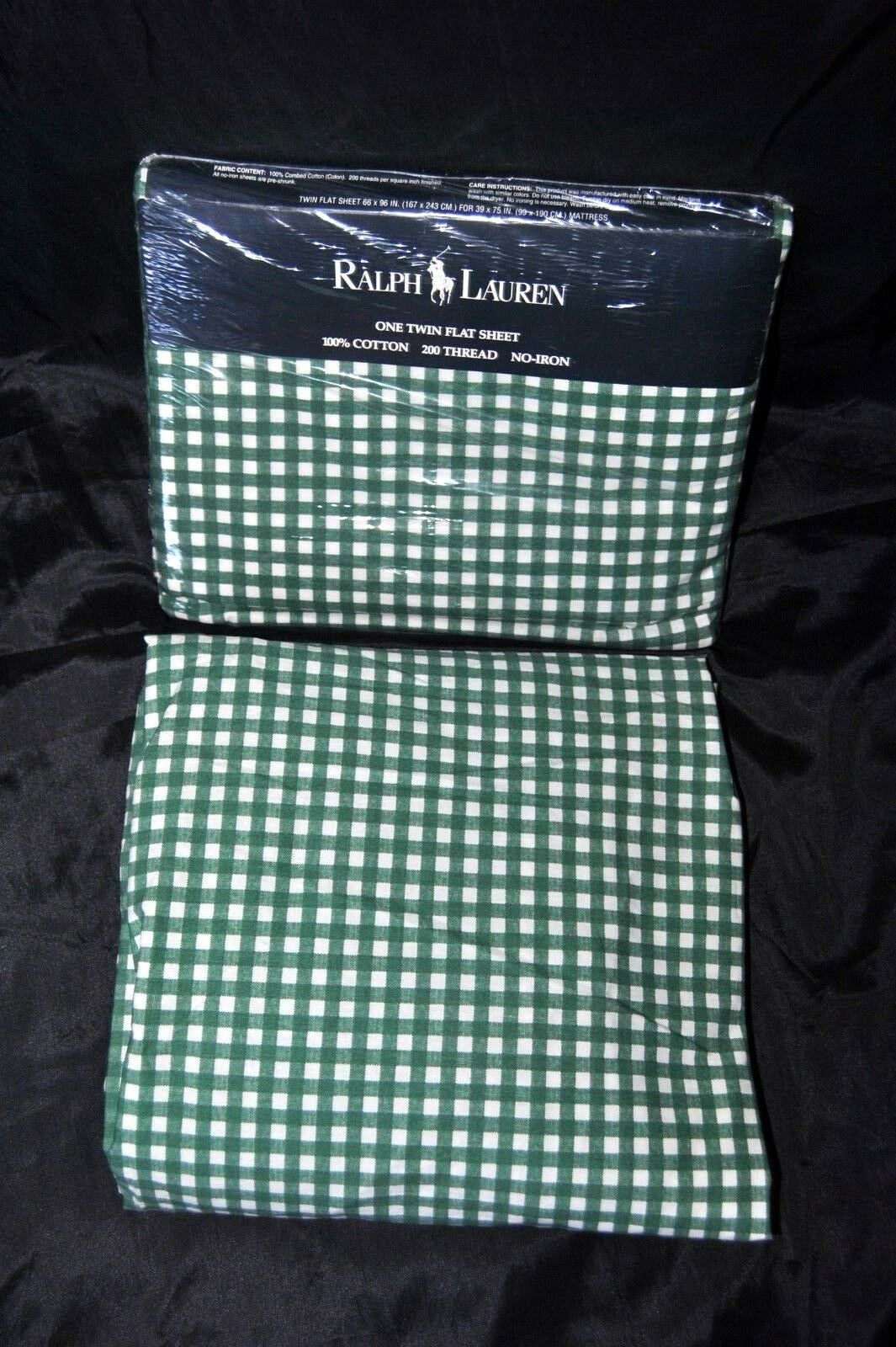 RARE Vintage RALPH LAUREN Forest Green Medium Gingham TWIN Sheet Set UNUSED