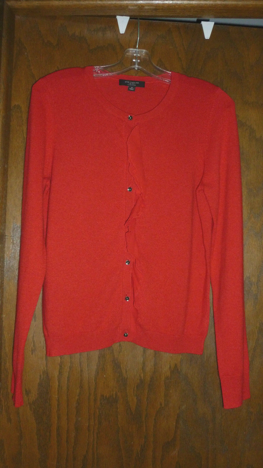 ANN TAYLOR 100% CASHMERE RUFFLE TRIM BUTTON FRONT SWEATER RED NWOT SZ M