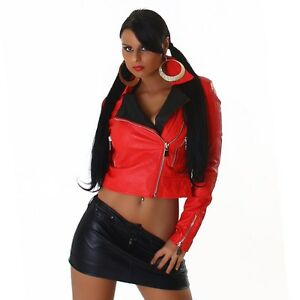 595106c7e1829d Das Bild wird geladen Kunstleder-Kurz-Jacke-Lederjacke-Bolero -Bikerjacke-Lederimitat-rot-
