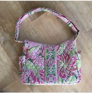 Vera-Bradley-Retired-Pink-Pinwheel-Medium-Large-Crossbody-Quilted-Cotton-Floral